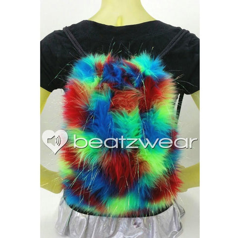 Furry backpack- tie dye glitter red lime turquoise