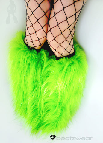 Lime glitter fluffies - short gogo style (ready to ship)