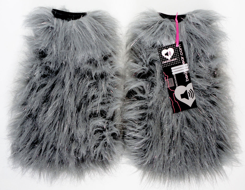 Gray glitter fluffies - short gogo style (ready to ship)