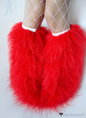 Red glitter fluffies - short gogo style (ready to ship)