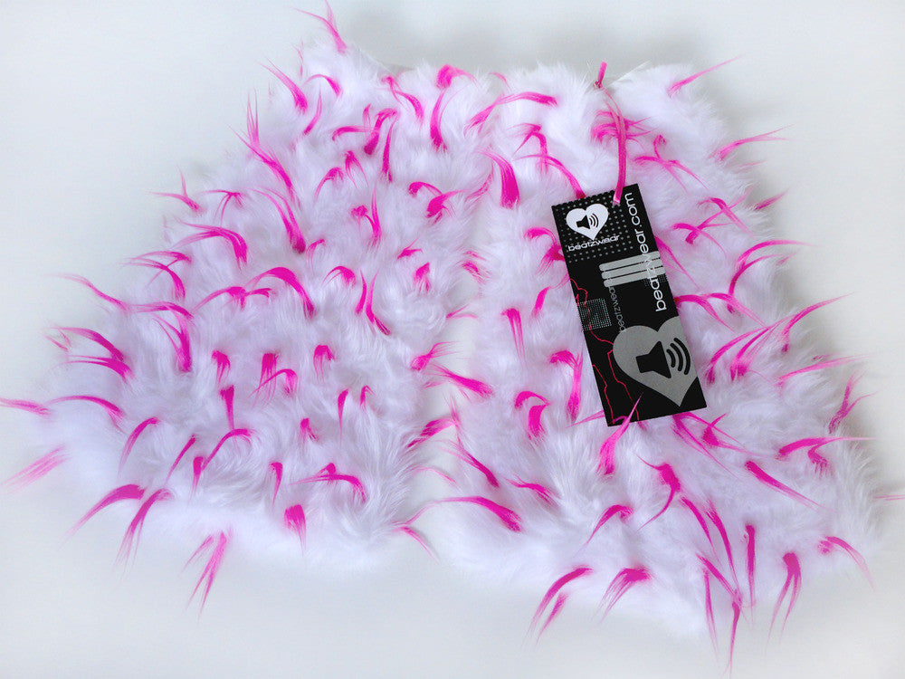 Spiked fluffies uv white/neon pink - Beatzwear