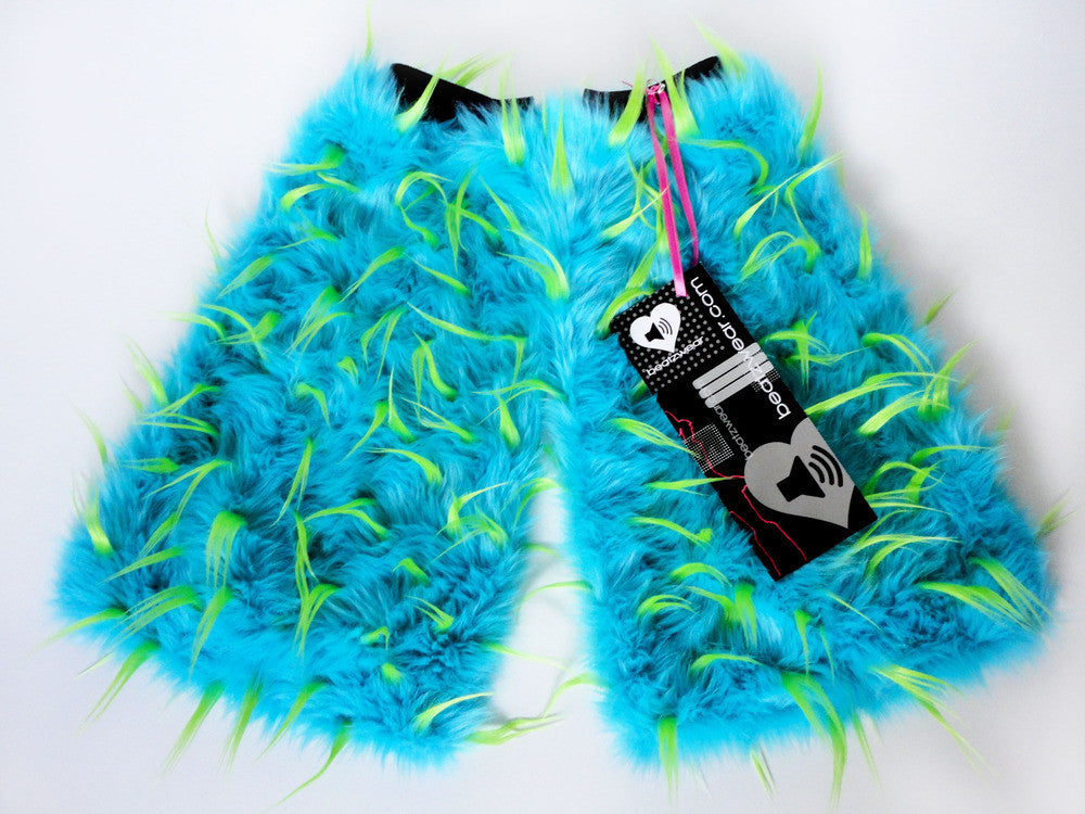 Spiked fluffies uv turquoise/lime - Beatzwear