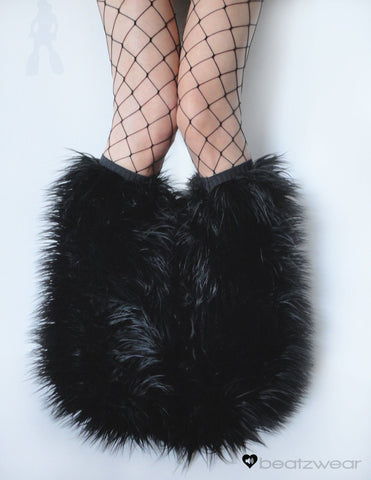 Black superpoof fluffies - short gogo style  (ready to ship)