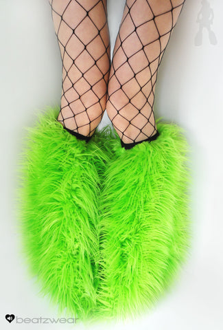 Lime superpoof fluffies - short gogo style (ready to ship)