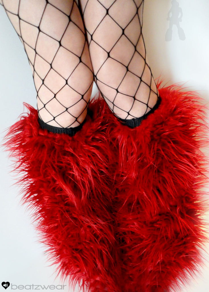Red superpoof fluffies - short gogo style