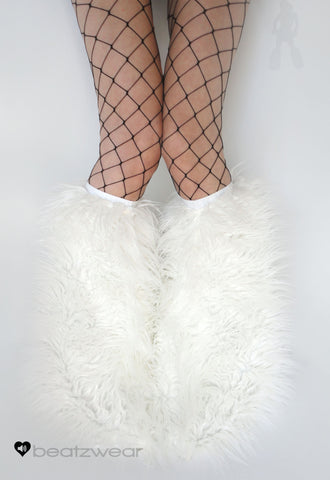 White superpoof fluffies - short gogo style (ready to ship)