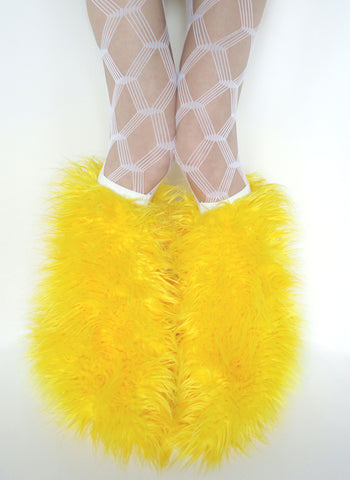Yellow superpoof fluffies - short gogo style (ready to ship)