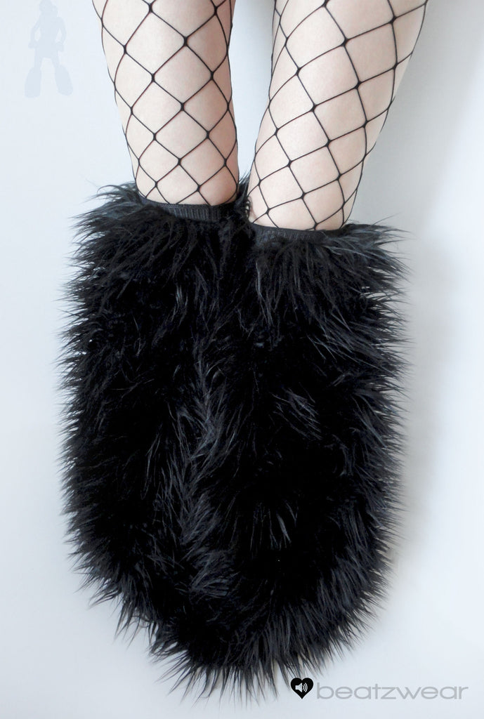 Thigh high fluffies superpoof black - Beatzwear - 1