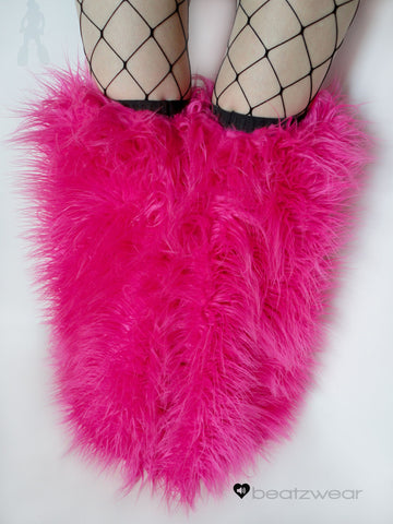 Thigh high fluffies superpoof hot pink