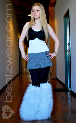 Thigh high fluffies superpoof white