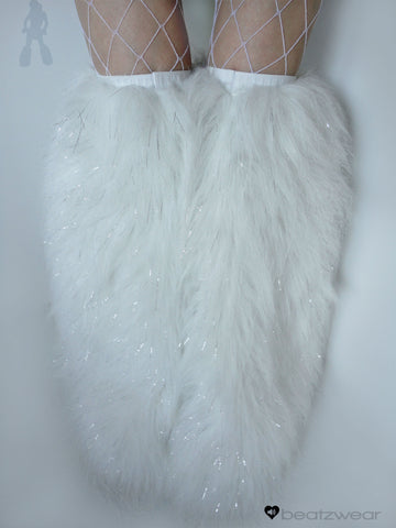 Thigh high fluffies glitter white