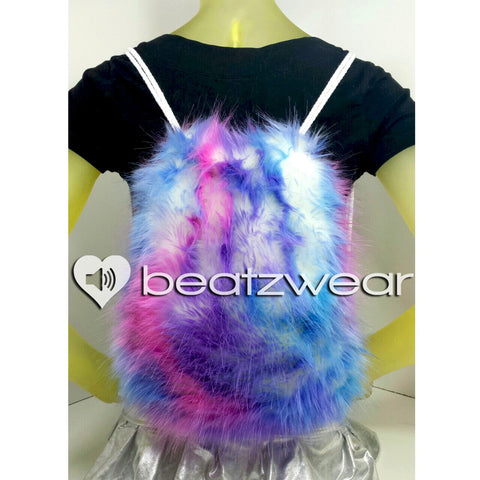 Furry backpack- tie dye light bubblegum