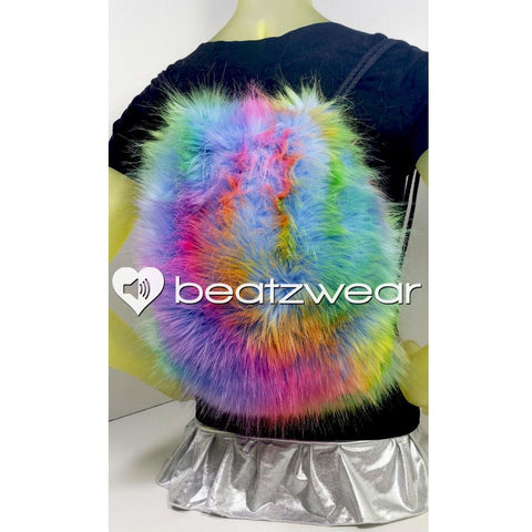 Furry backpack- tie dye dark rainbow