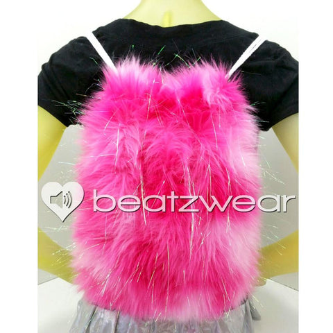 Furry backpack - tie dye glitter light and dark pink