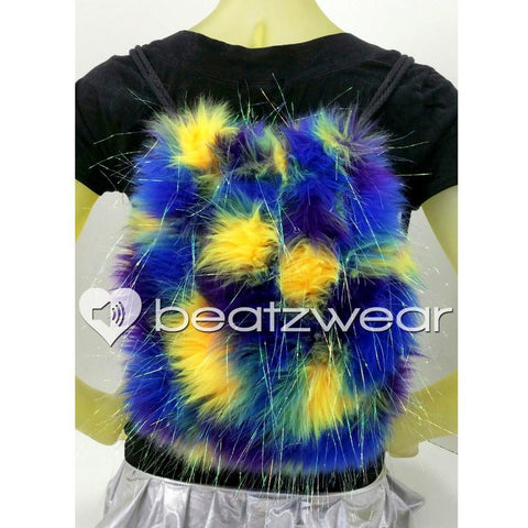 Furry backpack - tie dye glitter purple blue yellow