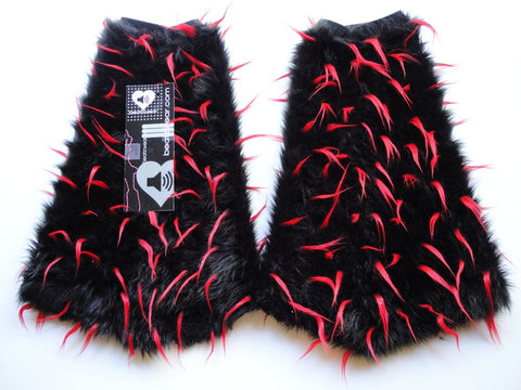Spiked fluffies black and red