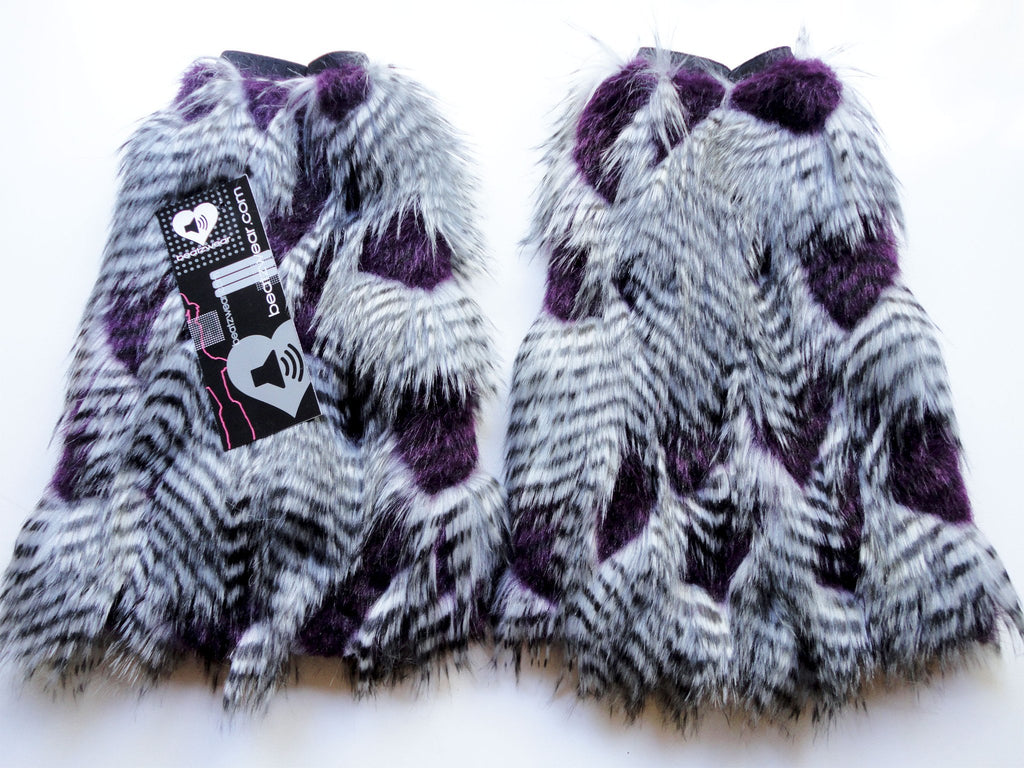 Feather fur fluffies purple and gray - Beatzwear