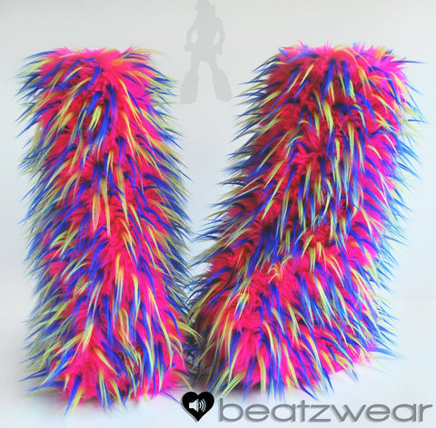 Festival fluffies uv hot pink/blue/lime - ready to ship