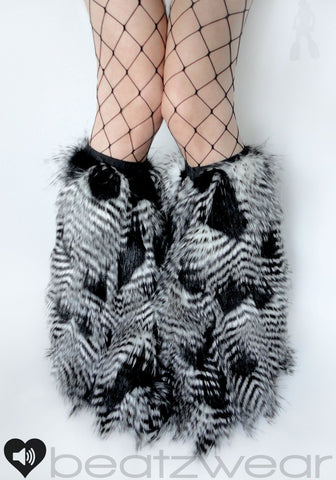 Black and white feather fur fluffies- short gogo style (ready to ship)