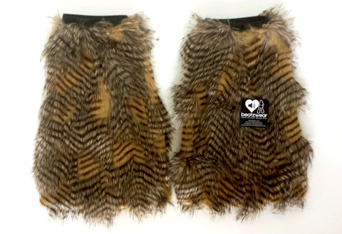 Brown feather fur fluffies- short gogo style (ready to ship)