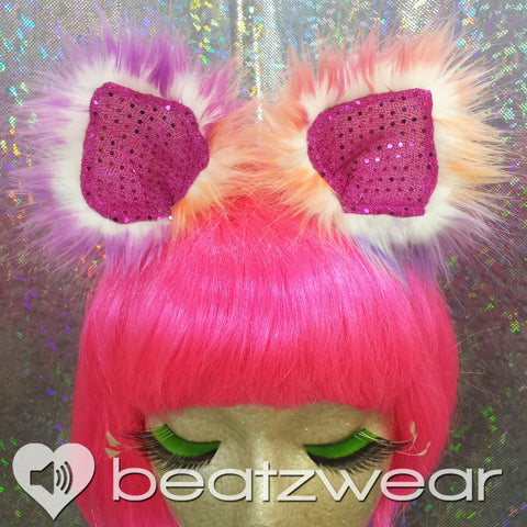 Clip in cat ears - tie dye with pink sparkle