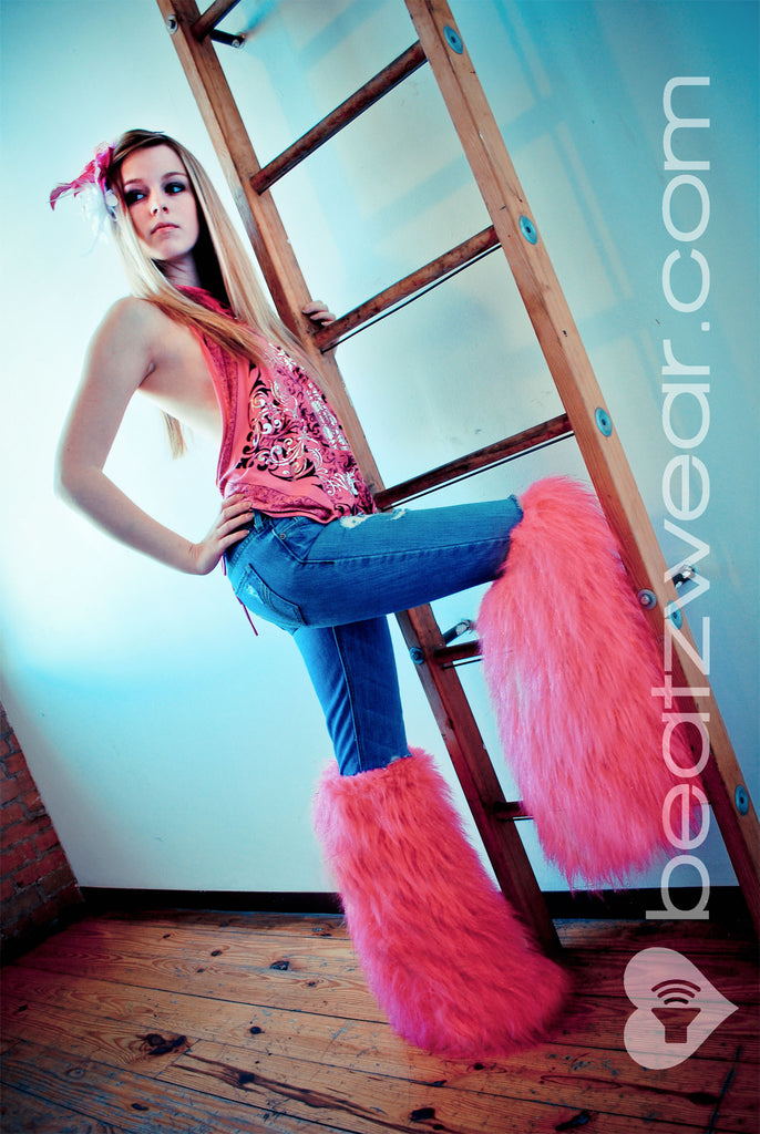Thigh high fluffies glitter hot pink - Beatzwear