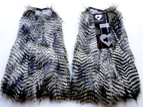 Gray feather fur fluffies- short gogo style (ready to ship)