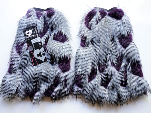 Gray and purple feather fur fluffies- short gogo style (ready to ship)