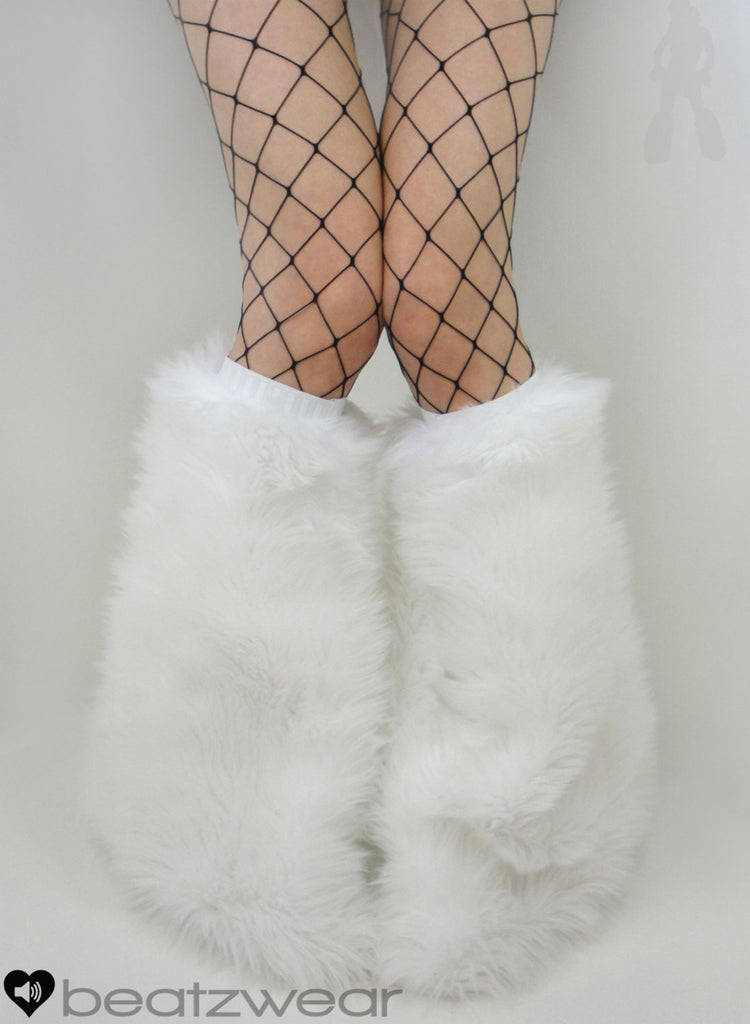 White short plush fur fluffies- short gogo style
