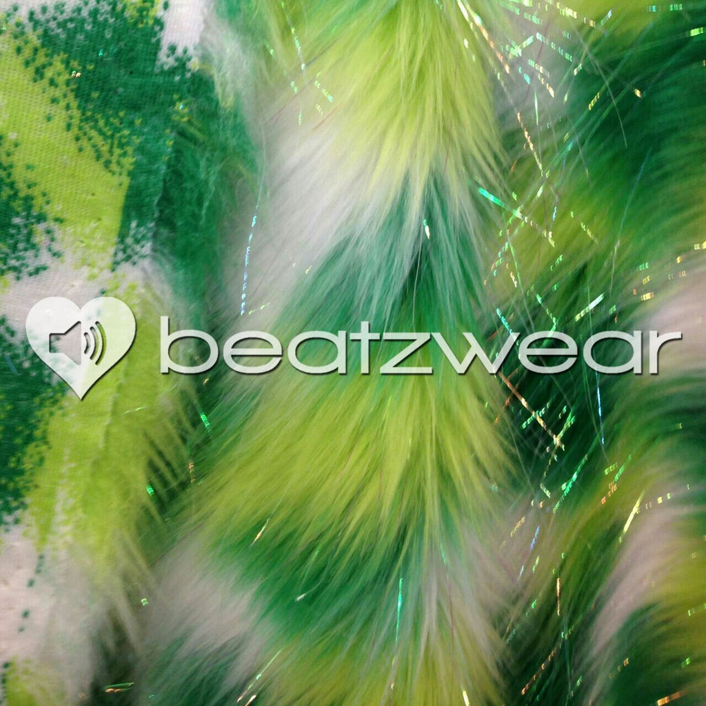 Tie dye fluffies - glitter lime green white - Beatzwear