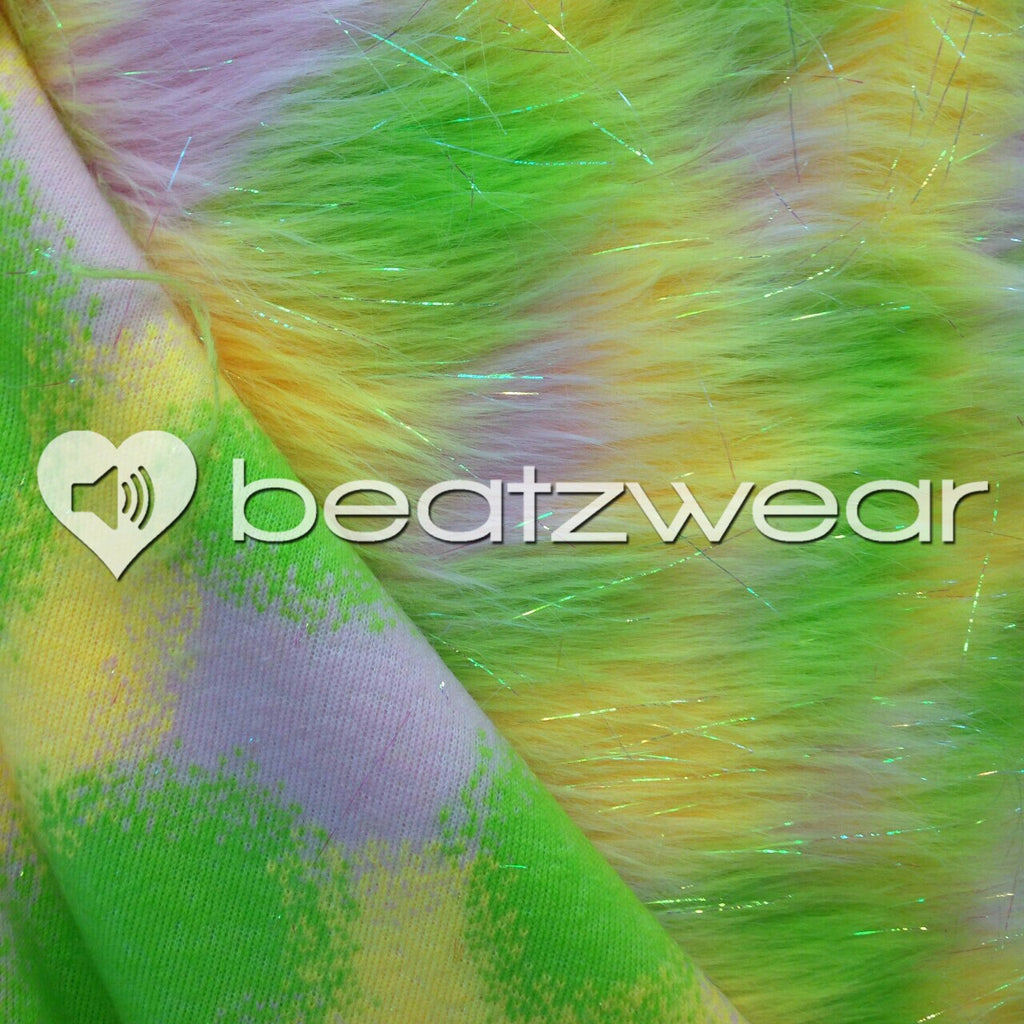 Tie dye fluffies - glitter lime yellow white - Beatzwear