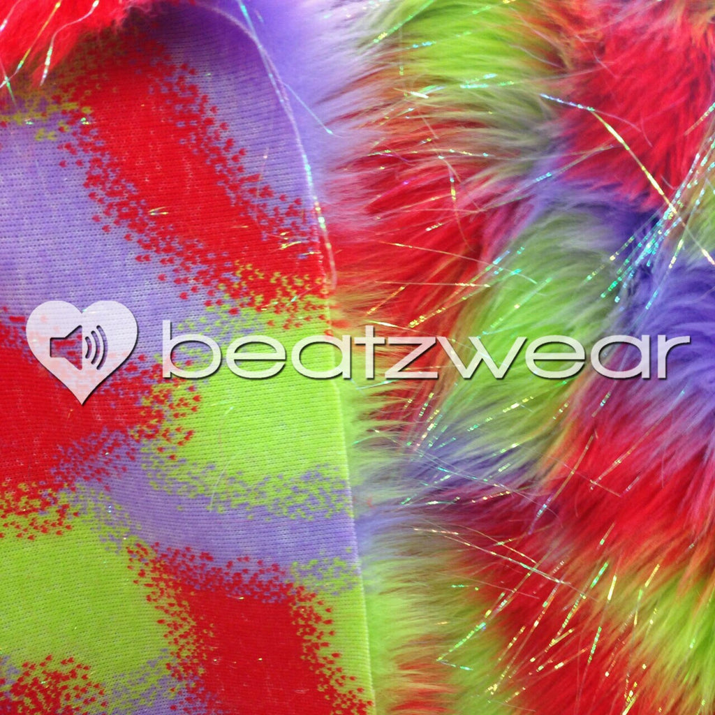 Tie dye fluffies - glitter red purple lime - Beatzwear