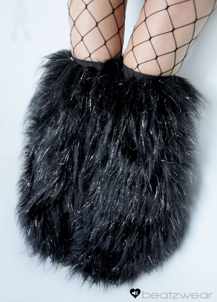 Thigh high fluffies glitter black - Beatzwear