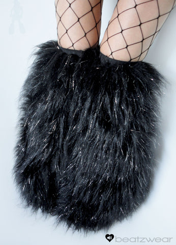 Thigh high fluffies glitter black