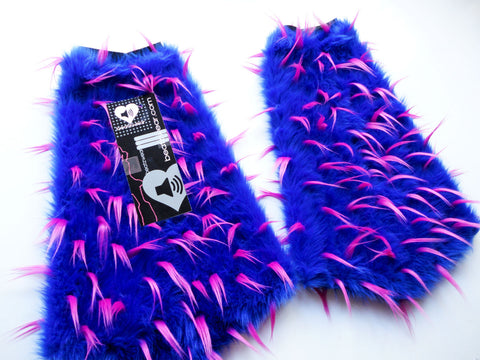 Spiked blue and pink fluffies - short gogo style (ready to ship)