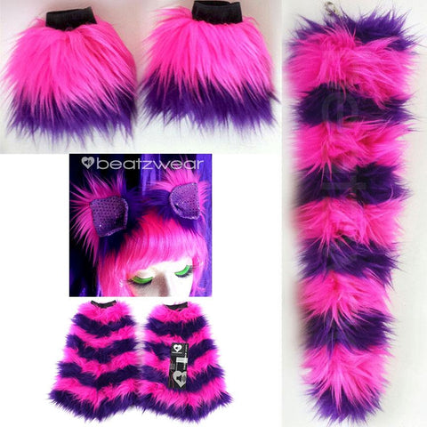 Cheshire Cat costume - ears, tail, leggings, and cuffs