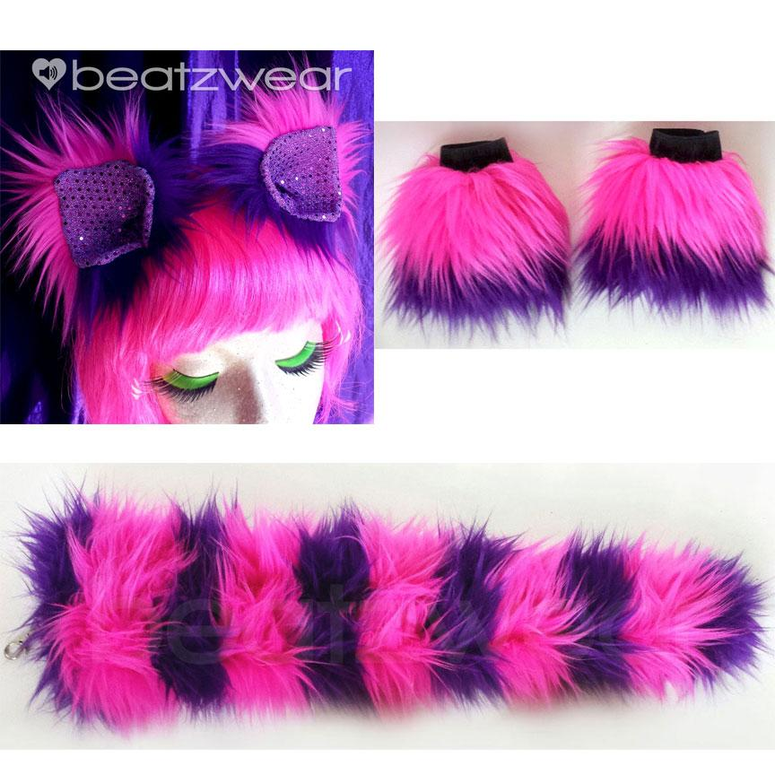 Cheshire Cat costume- ears, tail, and wrist cuffs