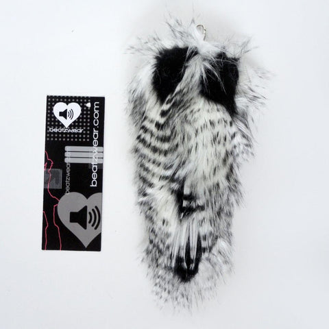 Fox tail - feather fur black and white