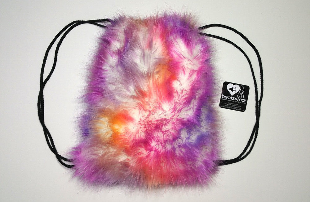 Furry backpack- tie dye light sunset - Beatzwear