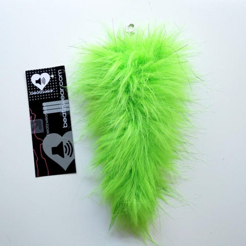 Faux fur fux tail- lime glitter