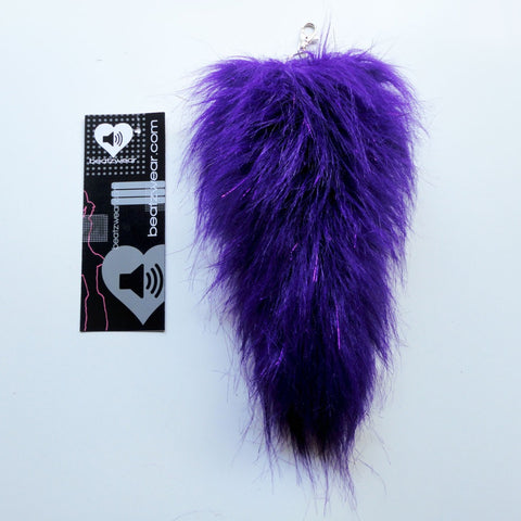 Purple glitter faux fur fox tail