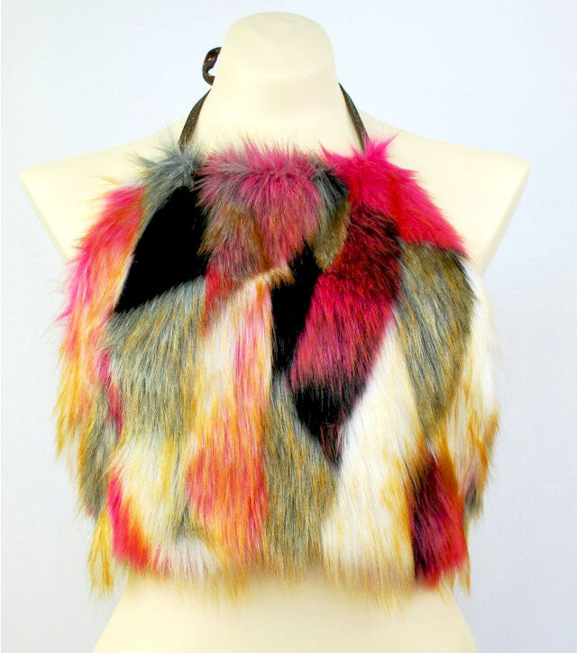 Tribal fur halter tops