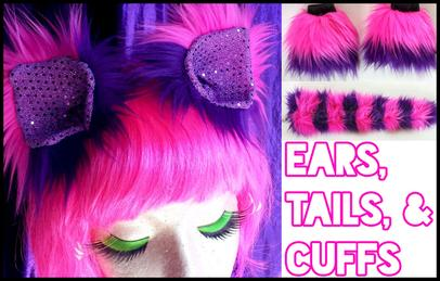 Faux fur ears, tails, and cuffs for costumes.