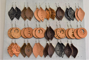 leather earrings, large