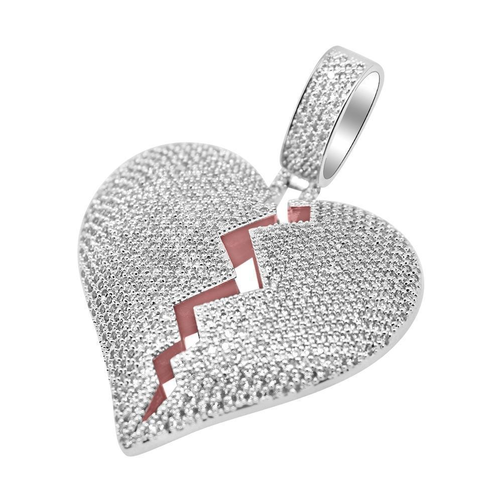 White Gold Large Heart Breaker Pendant