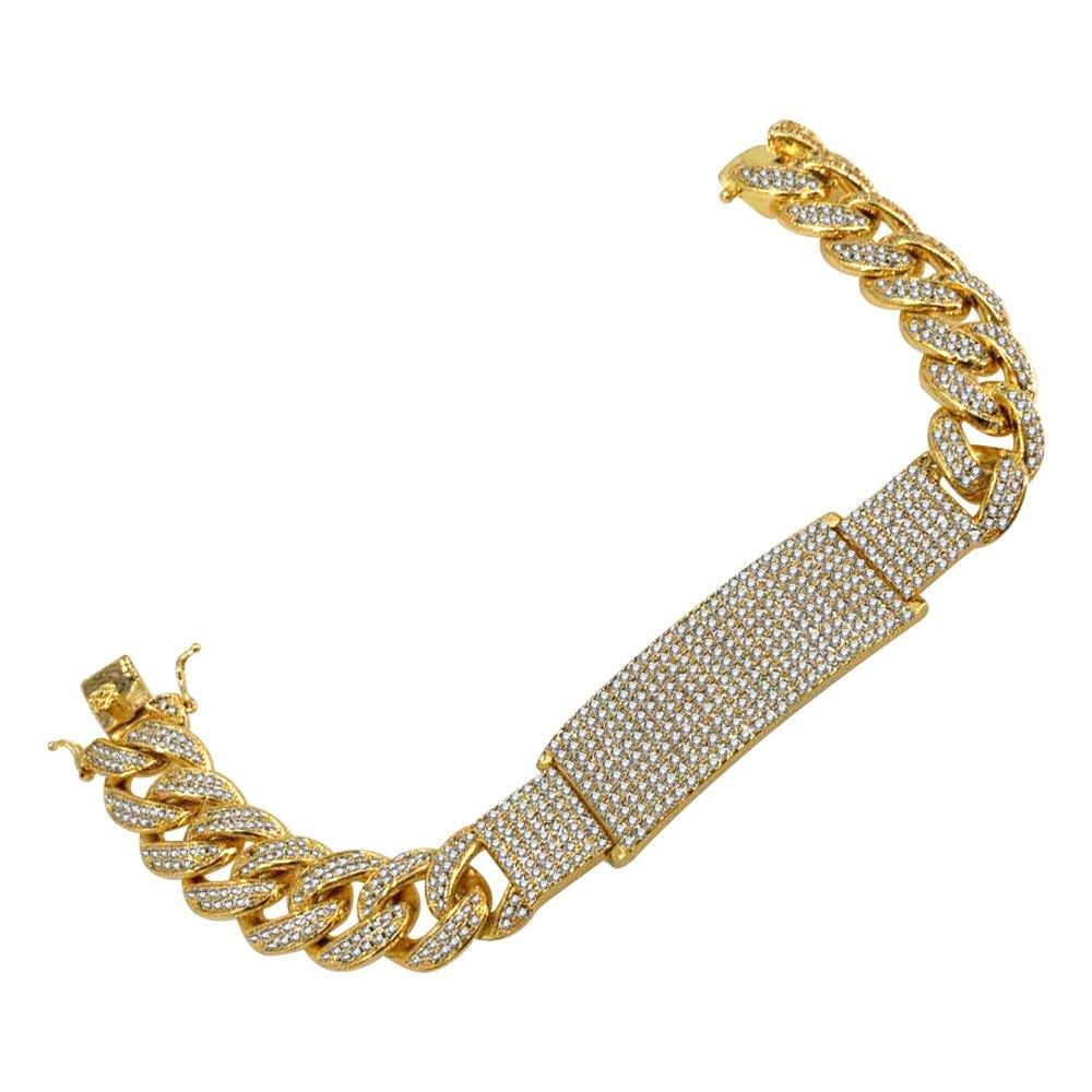 Gold ID Plate Diamond Cuban Bracelet