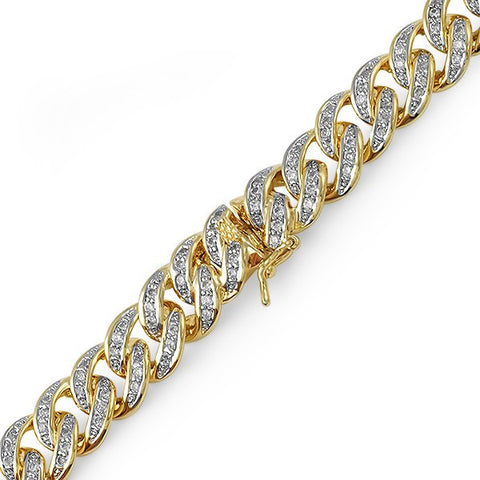 13mm 18k Gold Finish Iced Out Miami Cuban Bracelet