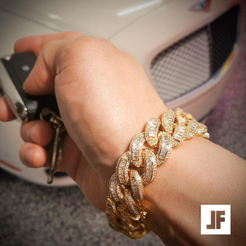 Exotic Baguette Lab Diamond Gold Cuban Bracelet