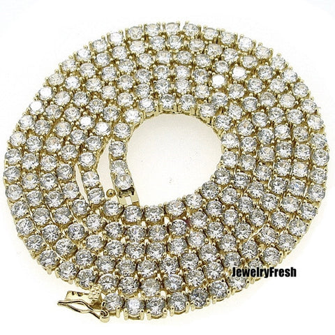 Fully Iced Out Gold Finish 1 Row Lab Made CZ Chain