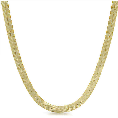 6mm Shiny Gold Plated Herringbone Chain